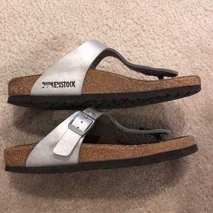 e30265de4bc Birkenstock Shoes - Birkenstock Gizeh silver gray flip flops 37 thongs